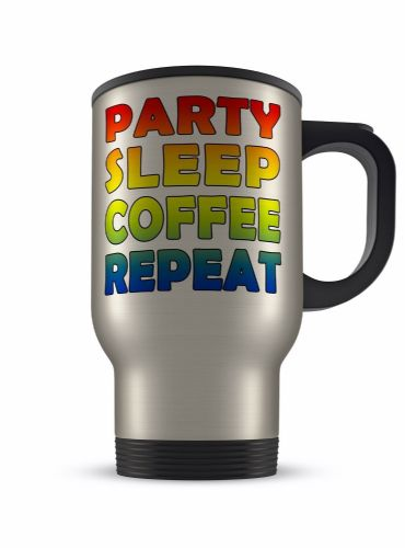 14oz Party Sleep Coffee Repeat Funny Novelty Gift Aluminium Travel Mug